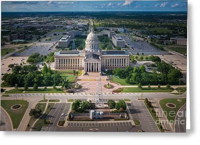 Okc Thunder Greeting Cards - Oklahoma City State Capitol Building A Greeting Card by Cooper Ross