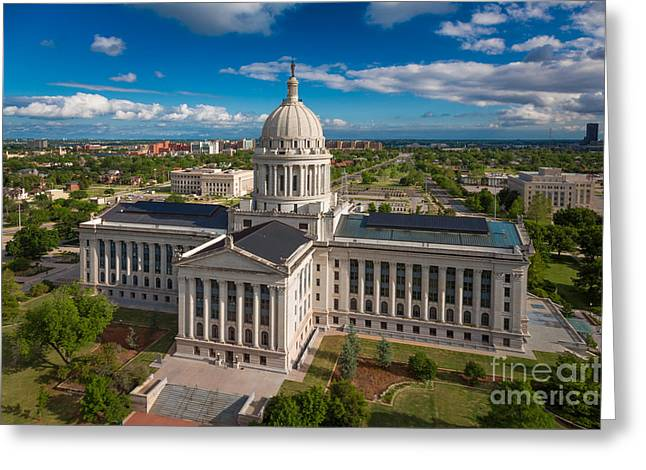 Okc Greeting Cards - Oklahoma City State Capitol Building C Greeting Card by Cooper Ross