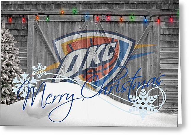 Dunk Photographs Greeting Cards - Oklahoma City Thunder Greeting Card by Joe Hamilton