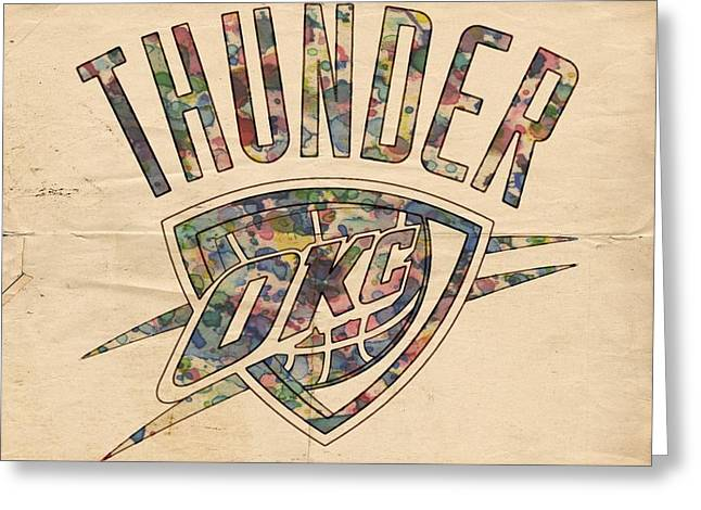 Slamdunk Greeting Cards - Oklahoma City Thunder Poster Art Greeting Card by Florian Rodarte