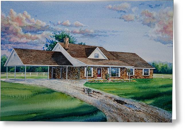 Pen And Ink Drawing Greeting Cards - Oklahoma Country Home Greeting Card by Hanne Lore Koehler