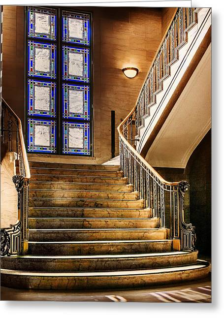 Tulsa Oklahoma. Architecture Greeting Cards - Oklahoma Federal Building Staircase  Greeting Card by Mountain Dreams