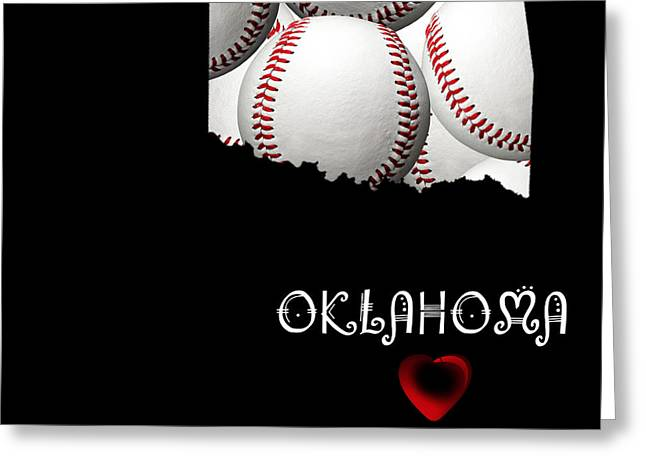 State Phrase Greeting Cards - Oklahoma Loves Baseball Greeting Card by Andee Design