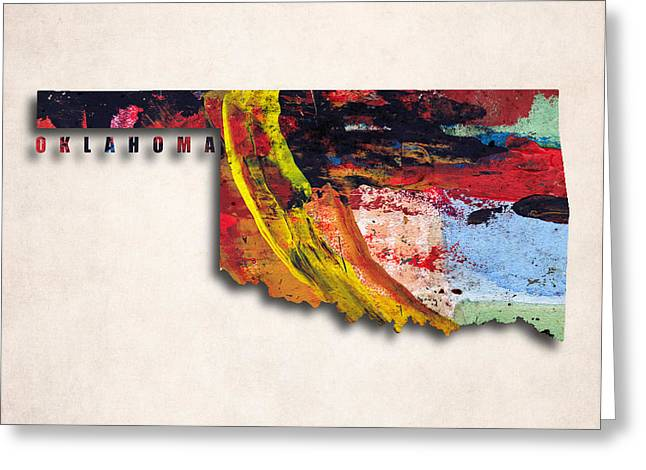 Oklahoma Digital Art Greeting Cards - Oklahoma Map Art - Painted Map of Oklahoma Greeting Card by World Art Prints And Designs