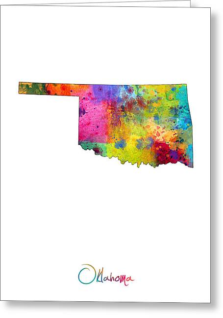Cartography Digital Greeting Cards - Oklahoma Map Greeting Card by Michael Tompsett