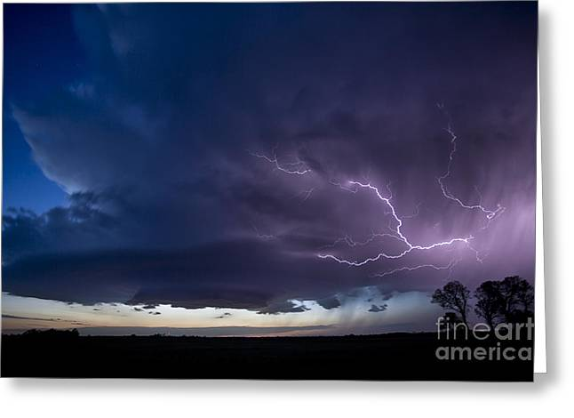 Wheat Field Sky Pictures Greeting Cards - Oklahoma Night storm  Greeting Card by Jeremy Holmes