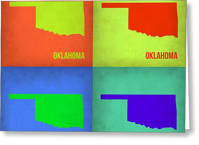Oklahoma Greeting Cards - Oklahoma Pop Art Map 1 Greeting Card by Naxart Studio