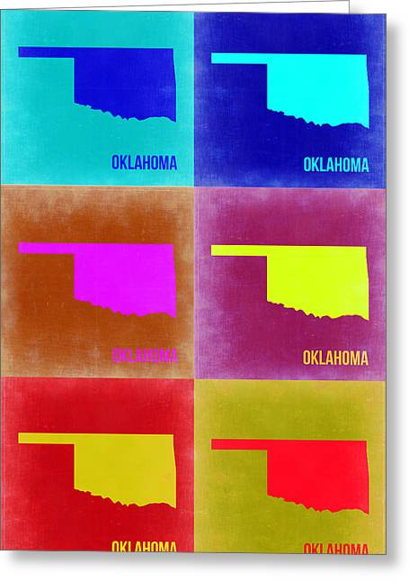 Oklahoma Greeting Cards - Oklahoma Pop Art Map 2 Greeting Card by Naxart Studio