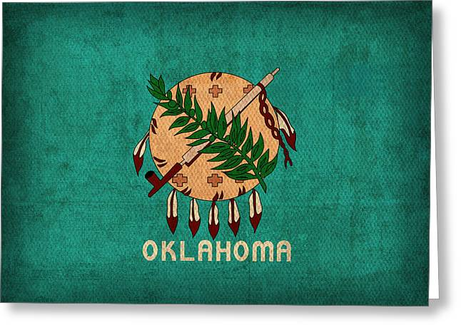 Okc Greeting Cards - Oklahoma State Flag Art on Worn Canvas Greeting Card by Design Turnpike