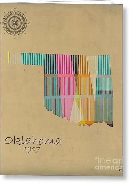 Oklahoma Digital Art Greeting Cards - Oklahoma State Map Greeting Card by Bri Buckley