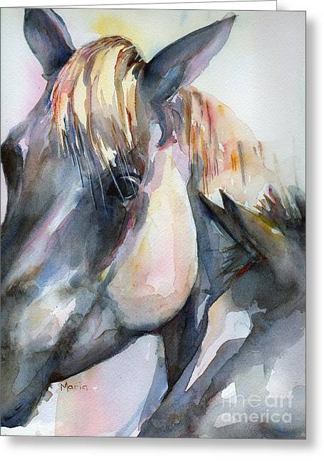 Gray Horse Greeting Cards - Grey Horse painting Oklahoma Sunshine Greeting Card by Maria