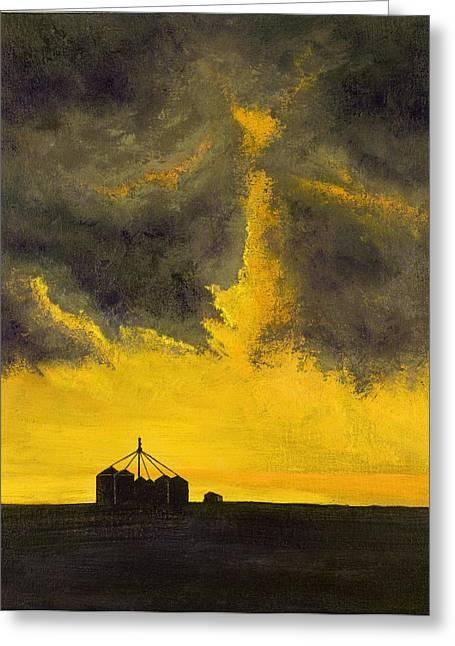 Thunderstorm Paintings Greeting Cards - Oklahoma Thunderstorm Greeting Card by Garry McMichael