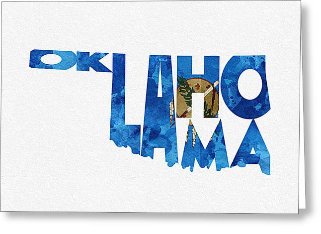 Mother Gift Greeting Cards - Oklahoma Typographic Map Flag Greeting Card by Ayse Deniz