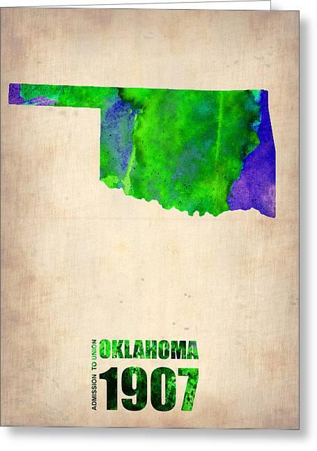 Oklahoma Greeting Cards - Oklahoma Watercolor Map Greeting Card by Naxart Studio