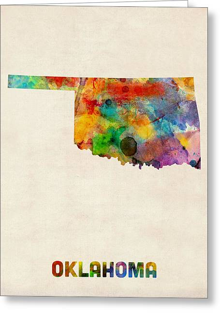 State Map Greeting Cards - Oklahoma Watercolor Map Greeting Card by Michael Tompsett