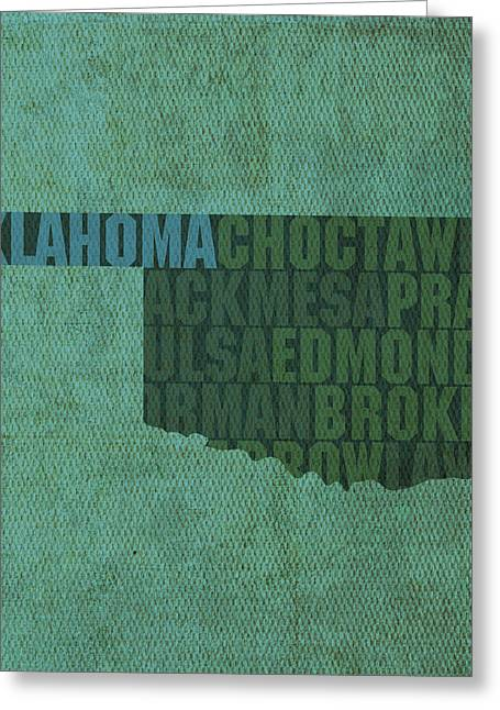 Oklahoma Greeting Cards - Oklahoma Word Art State Map on Canvas Greeting Card by Design Turnpike
