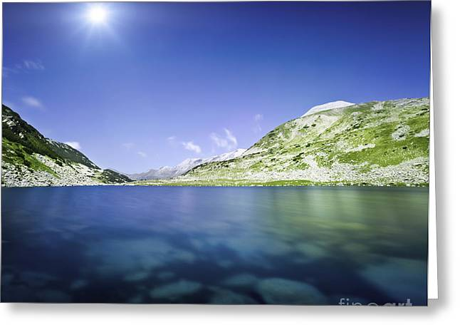 Reflections Of Sky In Water Greeting Cards - Okoto Lake In The Pirin Mountains Greeting Card by Evgeny Kuklev