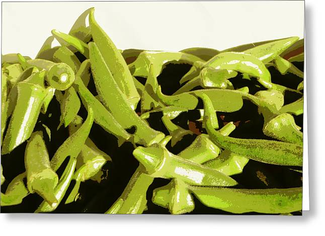 Okra Greeting Card by Karyn Robinson