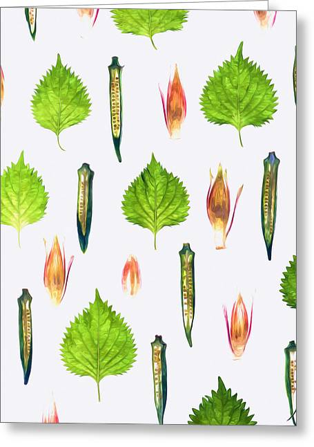 Sticky Fingers Greeting Cards - Okra Greeting Card by Lanjee Chee