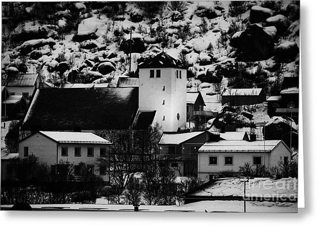 Norwegian Sea Greeting Cards - Oksfjord Church And Village During Winter Norway Europe Greeting Card by Joe Fox