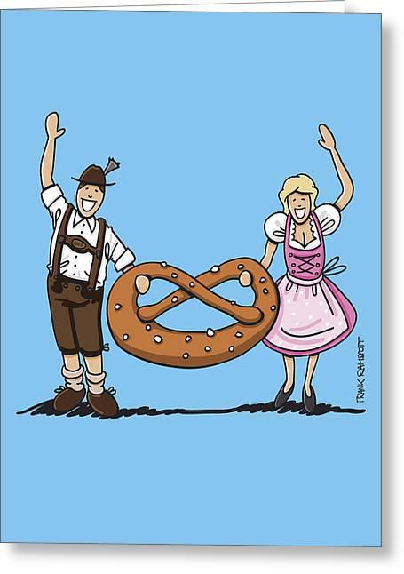 Germany Greeting Cards - Oktoberfest Couple With Large Pretzel Greeting Card by Frank Ramspott