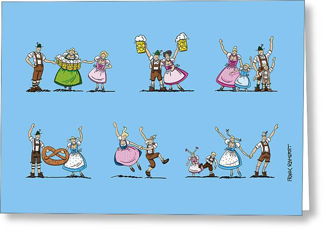 Oktoberfest Munich Cartoon People Greeting Card by Frank Ramspott