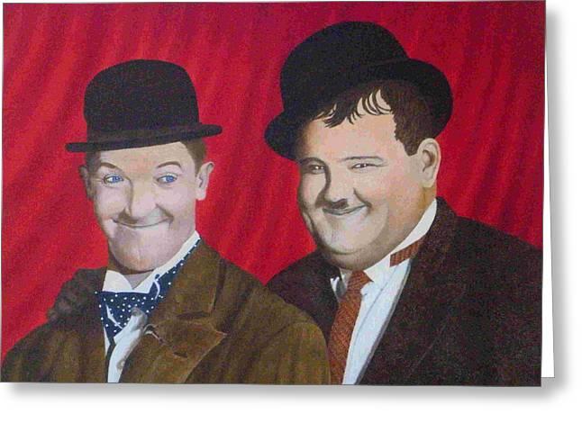 Laurel And Hardy Greeting Cards - Ol Buddies Greeting Card by Jonn Lander