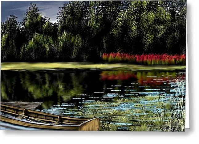 Sketchbook Greeting Cards - Ol Fishin Hole Greeting Card by Ron Grafe