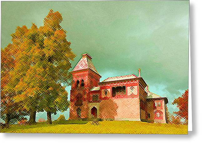 Church Pillars Paintings Greeting Cards - Olana 14 Greeting Card by Lanjee Chee