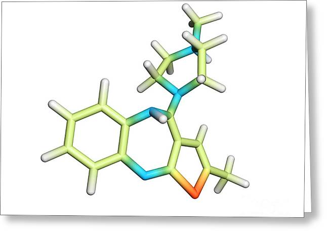 Bipolar Greeting Cards - Olanzapine Drug Molecule Greeting Card by Dr. Tim Evans