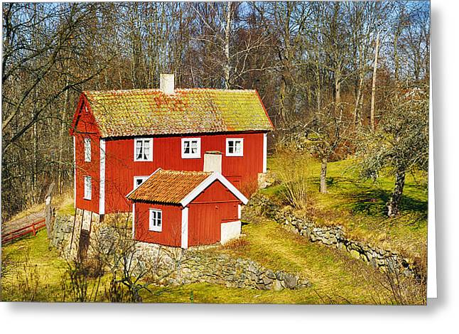 Environment-friendly Greeting Cards - Old 17th Century Cottage Set In Rural Nature Landscape Greeting Card by Christian Lagereek