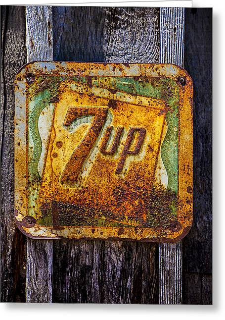 Soft Drink Greeting Cards - Old 7 Up sign Greeting Card by Garry Gay
