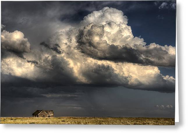 Summer Storm Greeting Cards - Old Abandoned Building Greeting Card by Mark Duffy