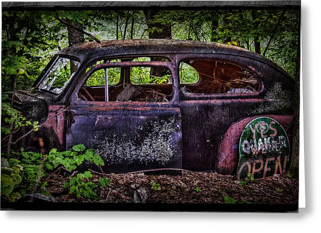 Peaceful Scene Greeting Cards - Old Abandoned Car In The Woods Greeting Card by Paul Freidlund