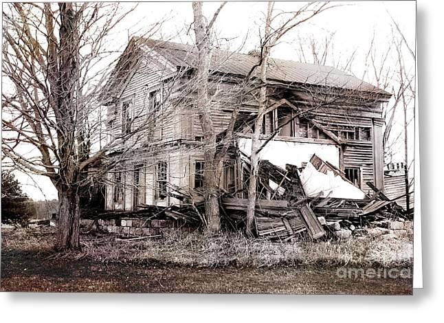 Michigan Farmhouse Greeting Cards - Old Abandoned Farmhouse Michigan Landscape Greeting Card by Kathy Fornal