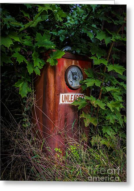 Old Objects Greeting Cards - Old abandoned gasoline pump Greeting Card by Edward Fielding
