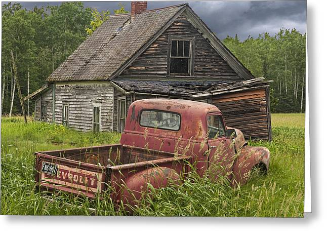 Old Abandoned Homestead And Truck Greeting Card by Randall Nyhof