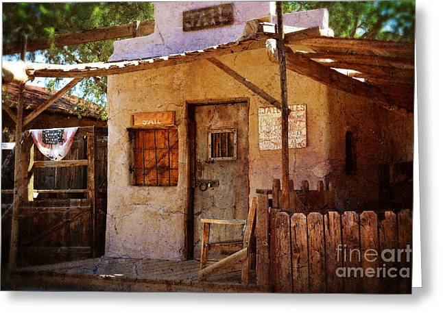 Town Mixed Media Greeting Cards - Old Abandoned Jail House Greeting Card by Beverly Guilliams