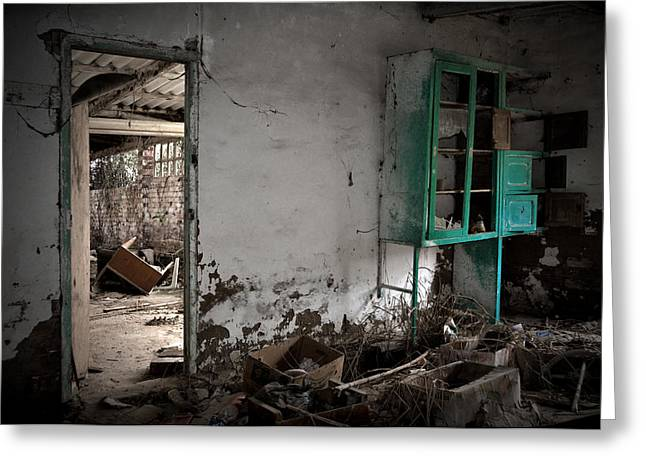 Old Abandoned House Greeting Cards - Old abandoned kitchen Greeting Card by RicardMN Photography