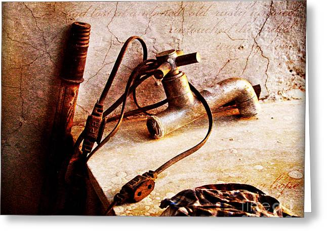 Wire Handle Greeting Cards - Old abandoned tap Greeting Card by Prajakta P