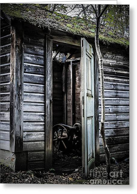 Shed Photographs Greeting Cards - Old abandoned well house with door ajar Greeting Card by Edward Fielding