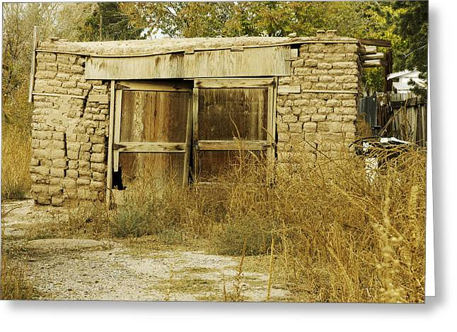 Abdandoned House Greeting Cards - Old Adobe Brick Garage Greeting Card by David Allen Pierson