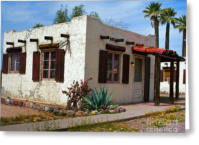 Old Adobe Cottage Greeting Card by Brian Lambert