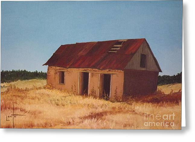 Tin Roof Mixed Media Greeting Cards - Old Adobe House Greeting Card by Lorita Montgomery