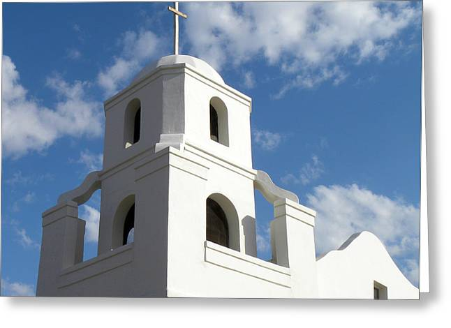 Hand Built Greeting Cards - Old Adobe Mission Scottsdale Greeting Card by Julie Palencia