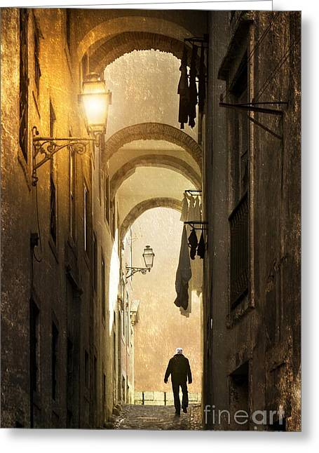Night Lamp Greeting Cards - Old Alley Greeting Card by Carlos Caetano