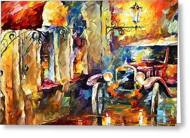 Impressionist Greeting Cards - Old Alleyway Greeting Card by Leonid Afremov