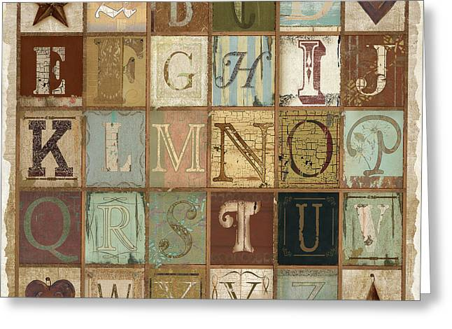 Child Canvas Greeting Cards - Old Alphabet Greeting Card by Grace Pullen