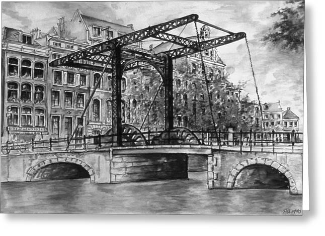 Urban Images Drawings Greeting Cards - Old Amsterdam - City Drawing Greeting Card by Peter Fine Art Gallery  - Paintings Photos Digital Art