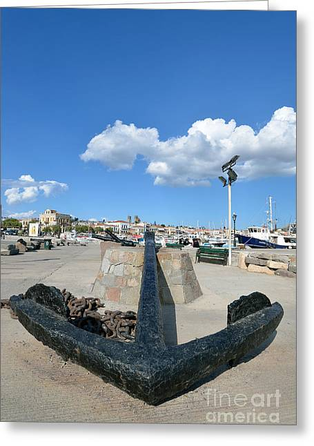 European Greeting Cards - Old anchor in Aegina port Greeting Card by George Atsametakis